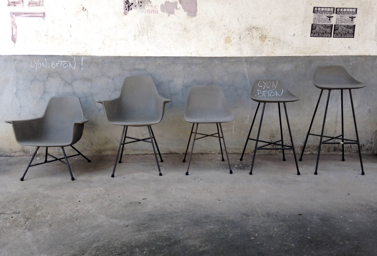 Styling ID Blog: Betonnen design, Diverse stoelen van Lyon Béton