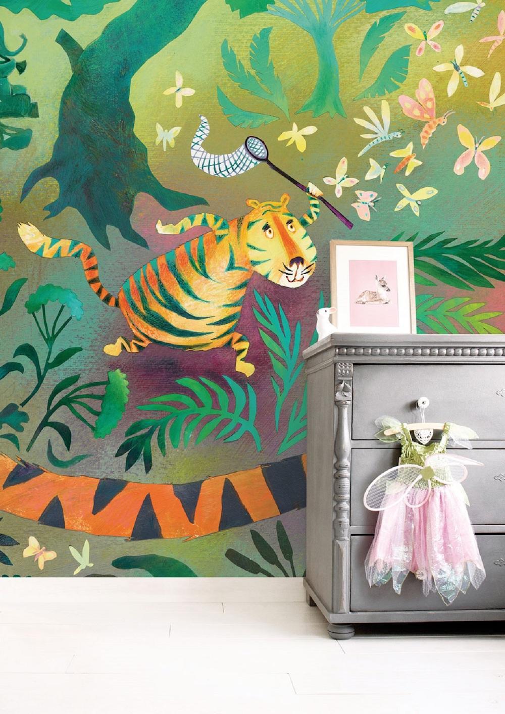 Styling ID Tips en Trends Prentenboeken als inspiratie voor dierlijk behang hunting tiger