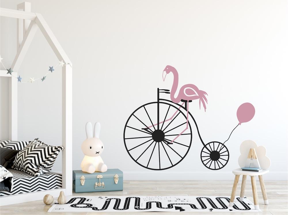 Leuk voor de kinderkamer een trendy muursticker Flamingo