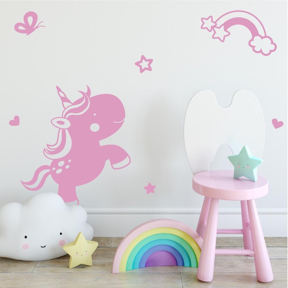 Leuk voor de kinderkamer een trendy muursticker Unicorn