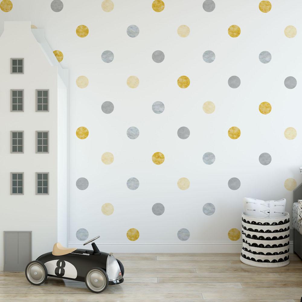 Styling ID Tips en Trends Milieuvriendelijke muurstickers Confetti dots geel - decodeco.nl