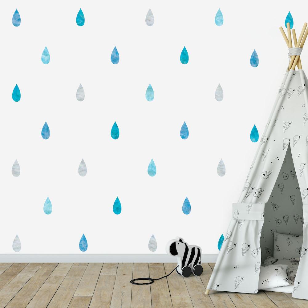 Styling ID Tips en Trends Milieuvriendelijke muurstickers Confetti drops blauw
