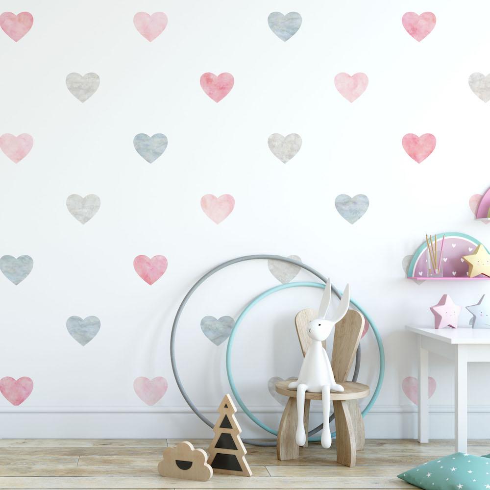 Styling ID Tips en Trends Milieuvriendelijke muurstickers Confetti hearts pink