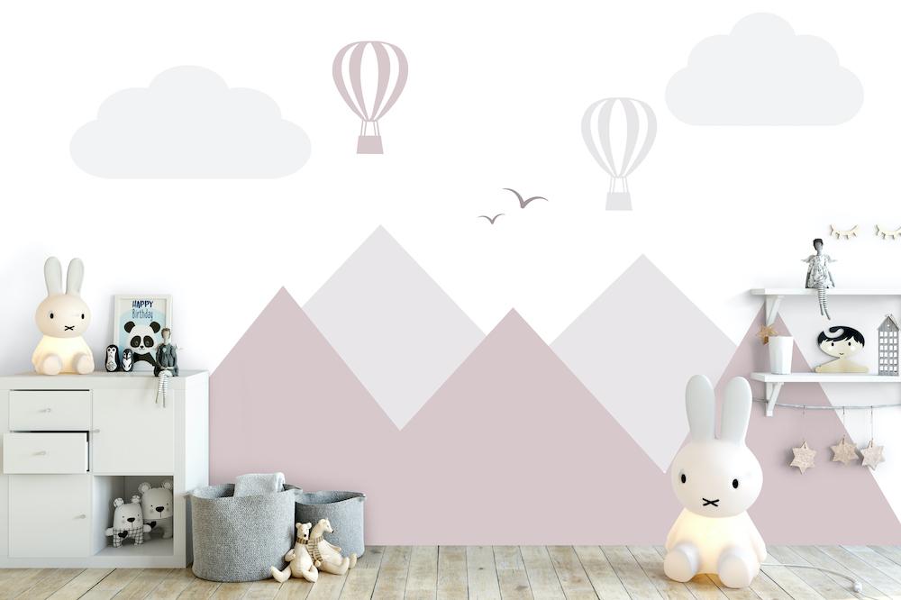 Styling ID Tips en Trends Voor Daring Walls is geen berg te hoog muursticker-bergen-en-luchtballonnen-pink